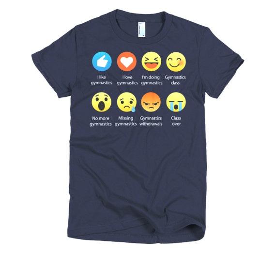 I Love GYMNASTICS Emoticon (emoji) Social Icon Sayings T-Shirts (Fine Jersey)