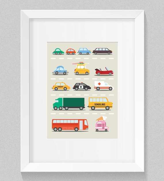 Little Baby Boy's Beep Beep Many Cars and Trucks Nuetral tones Nursery Children's Art Simple Minimalist Print - Digital Instant Download