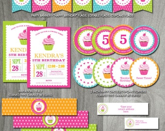 Cupcake Birthday Party Pack, Self Editable, INSTANT DOWNLOAD, Cupcake Decorations, Printable Template, Invitation, Labels, Cupcake Theme