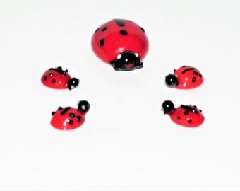 Set of Five Miniature/ Micro Miniature Vintage Glass Ladybug Figurines/Mom or Dad Ladybug and FourBabies