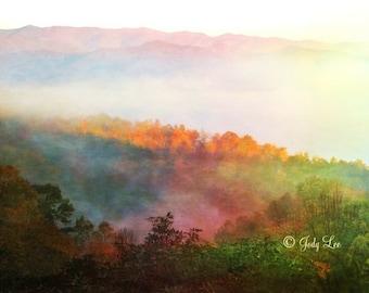 Fall, Autumn, Mystical, Fall Colors, Landscape photography, North Carolina, Wall Art, Orange,Valley Fog