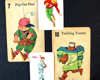 Play Ball*Set of Word and Picture Flashcards*Junk Journal, Planners, Scrapbooks, Collages*Vintage Children's Flashcards