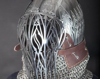Italian helmet with visor and barbuta; Reenactment Helm; Medieval Helm