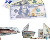 100 Dollar Bill Money Wallet for Males, Men, Teens, Kids -Ben Franklin Billfold, New Year Gift, Birthdays Stocking Stuffers, Small Thin