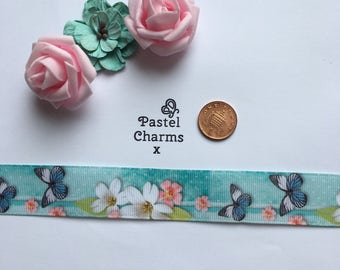 Pretty flowers and butterly ribbon x  2 yards 26mm wide x