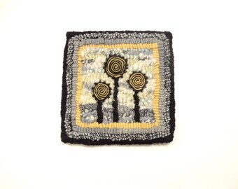 Small rug hooked mat Yellow grey black Modern hooking Quirky flowers Standing wool circles Quillies Wall hanging  Original rug hooking
