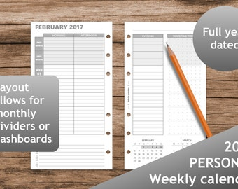 2017 Week on two pages, Planner, Printable planner inserts personal, Calendar, booklet, Weekly, Filofax, kikki.K, Dot Grid, grayscale