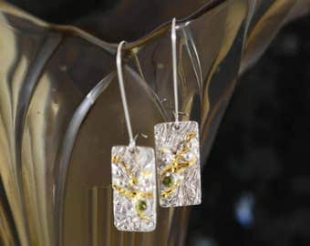 Riding the Wave - silver, 24 kt gold and peridot earrings
