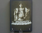 """SALE Key Holder GYPsY TARoT CARD Reader """"The Queen of Lost Keys""""  Key Holder and Wood Mounted Wall Art  5.5"""" x 8"""""""