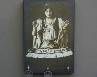 "SALE Key Holder GYPsY TARoT CARD Reader ""The Queen of Lost Keys""  Key Holder and Wood Mounted Wall Art  5.5"" x 8"""