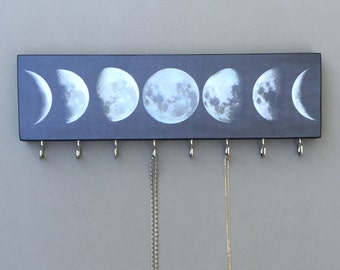"JEWELRY HANGER or Key Holder /  Moon Phases Wood Mounted Art w/ Hooks for Jewelry or as Key Hanger. PERSONALIZE Your Own- 12.5"" x 3.5"""