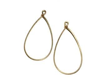 4 Brass Ear Wire, Tear Drop Ear Wire, Hoops, Earring Drops, 46x25 mm