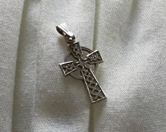 Small Irish Celtic Cross 14 k white gold