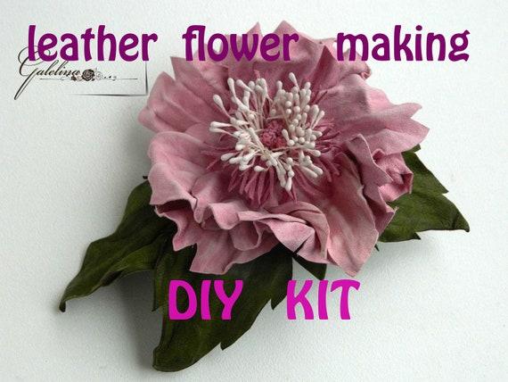 Leather flower making kit craft kit diy kit leather flower for Leather flowers for crafts