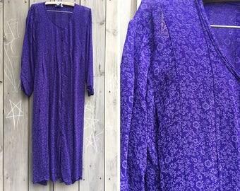 Vintage dress | 90s purple rayon April Cornell floral maxi dress