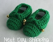 Elf Feet - Infant Slipper Socks for the Holidays - Christmas - In Stock Item - Next Day Shipping - Size 6-12 Month Shoe Size 3/4 ONLY