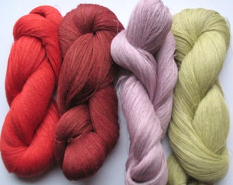 Linen Yarn Purple Red Burgundy Salad Green 380 gr (13.3 oz ), Cobweb / 1 ply, each hank contains approximately 2700 yds