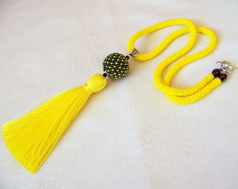Yellow Tassel Necklace - Long Necklace - Bead Crochet Rope Necklace - Bright Necklace - Statement Tassel necklace - tassel pendant necklace