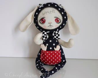 OOAK-Art Doll- Dreadful Bunny-Softie-Weird-Gothic-Halloween-Collectable - Handmade by Cheryl Austin