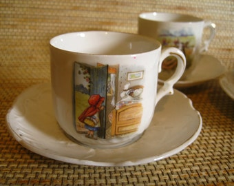 German Children's Tea Cups and Saucers, 8 pieces