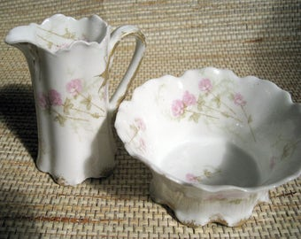 Vintage Limoges and Haviland and Co., Sugar Bowl and Creamer. two pieces