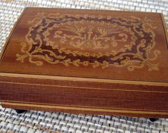 Wooden Inlay Italian Music Box, as is