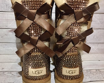 Bling UGG boots - crystal UGG boots - bling snow boots - womans ugg boots - custom UGG boots- bling Chestnut ugg boots- bling uggs with bows