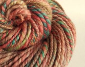 Handspun knitting yarn, chunky wool in rose pink, pale green and turquoise, blue faced leicester yarn, knitting yarn/wool, thick bulky yarn