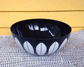 "Rare Cathrineholm Black and White Lotus 9.5"" Bowl Metal Enamelware Mid Century Modern"