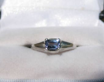 Tanzanite Ring Emerald Cut East West Sterling Silver Ring December Birthstone Side Set Dome Ring