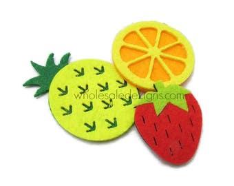 Fruit Trio Strawberry Orange Pineapple Felt Appliques - Red Yellow Orange Green - Patch - DIY Hair Clip Embellishment - Set of 3 Fruits