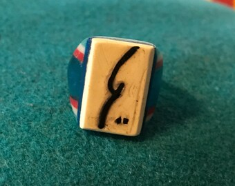 "Vintage Celluloid Bakelite Folk Art Prison Ring by Bob Dodd (Size 7-3/4) - reads ""Bob"" in shorthand"