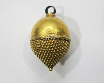 Vintage antique ethnic tribal 22K Gold Bead Pendant from Rajasthan India
