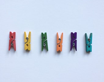 RAINBOW MINI PEGS - One set (50) tiny clothespins for your scrap booking or color coding crafting