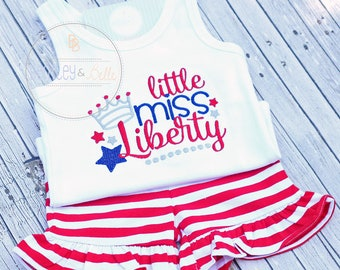 Girls July 4th Shorties Set - Little Miss Liberty Short Set - Fourth of July Short Set