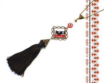 Tassel Ethnic Necklace.Ethnic Jewelry.Traditional Romanian Necklace. Folk Art Embroidery Motifs. Boho Necklace. Traditional Ethnic Necklace.