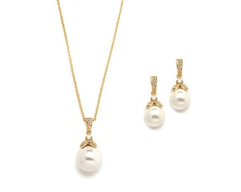 Pearl Gold Jewelry Set, Gold Pearl Wedding Jewelry, Gold Pearl Bridal Jewelry, Gold Pearl Jewelry, Pearl Jewelry, Gold Jewelry ~JS-1578-G