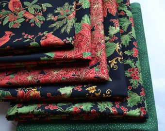 Christmas Fabric Bundle/6 Fat Quarters/Black, Red, Green, Metallic Gold/Holly, Poinsettia, Cardinal, Fairy Frost/Timeless Treasures