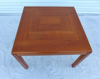 Teak Square Side Table Vejle Stole Mobelfabrik Denmark Inlaid Parquet Top  Large Danish End Table Mid