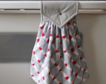 GREY WHITE and RED hanging kitchen towel with a grey top.