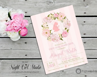 First Communion Invitation, Girl Communion Invite, Floral Communion, Pink, Printable