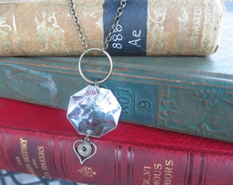 Assemblage Vintage Upcycle Repurposed Octagon Crystal Chandelier Prism Long Boho Necklace