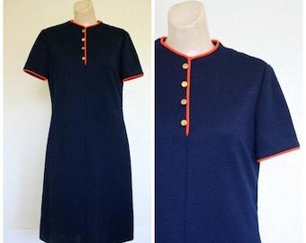 Sale Vintage 70s Navy Knit Dress / 1970's Modest Dress / Vtg 1970s Navy Blue Dress / Office Dress / Nautical Day Dress M