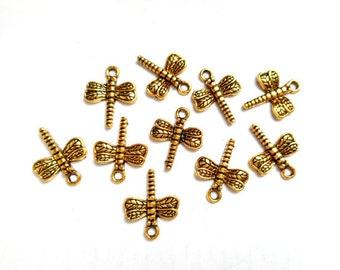 10 Antique Gold Dragonfly Charms - 27-28-1