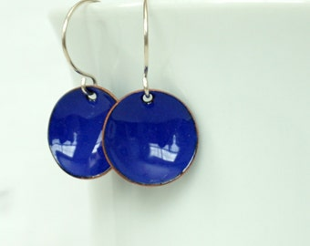 Cobalt Blue Enamel Earrings - Ultramarine Blue - Enamel Jewelry