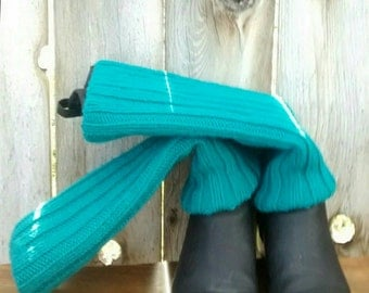 Hand Knit Leg Warmers - Boot Toppers - Covers - Long - Women's - Teens - Wool Blend - Teal - Turquoise