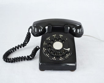 Vintage Black Bell Systems 500 Series Telephone | Beautiful Retro Black Phone | Metal Rotary Dial | Western Electric