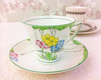 "Hand Painted Art Deco Tea Duo "" The Lea "" Heathcote China"