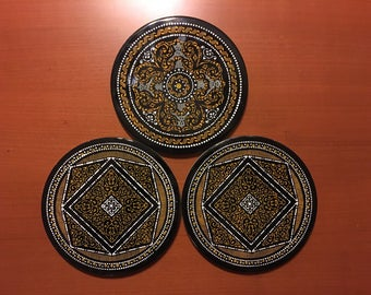 Vintage Mid-Century Retro Set Of 3 Round Ceramic Spanish Tile Trivets Moorish Black Yellow White Designs Made In Spain