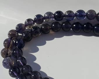 "1 -16"" Strand of Genuine Natural Beautiful Iolite Smooth Rounds 5.5-6mm (67 Beads)"